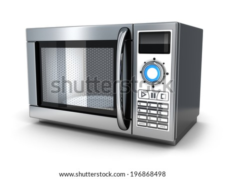 microwave on white background (done in 3d)  - stock photo