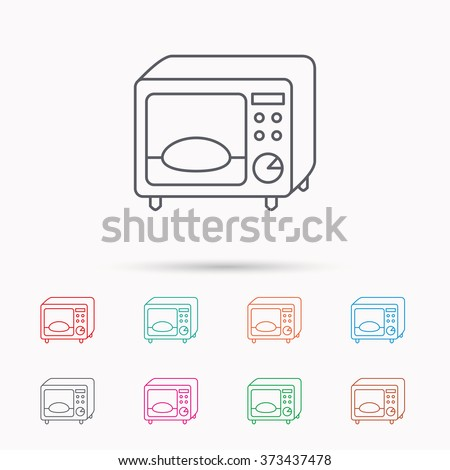 Microwave oven icon. Kitchen appliance sign. Linear icons on white background.