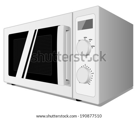 Microwave oven isolated on white background. - stock photo