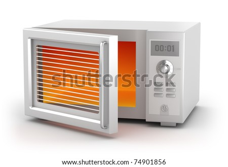 Microwave oven isolated on white. My own design - stock photo