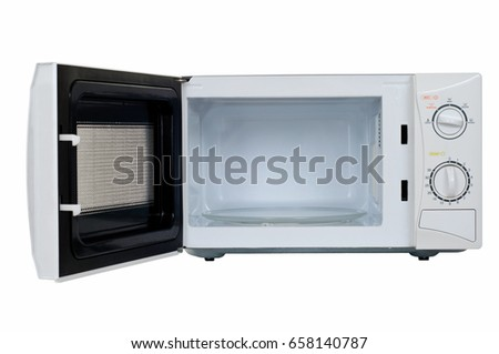 Microwave oven on white background.