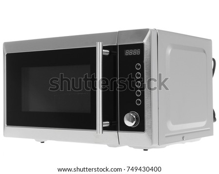 Microwave oven shot over white, modern stainless steel design