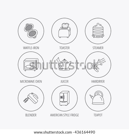 Microwave oven, teapot and blender icons. Refrigerator fridge, juicer and toaster linear signs. Hair dryer, steamer and waffle-iron icons. Linear colored in circle edge icons. - stock photo