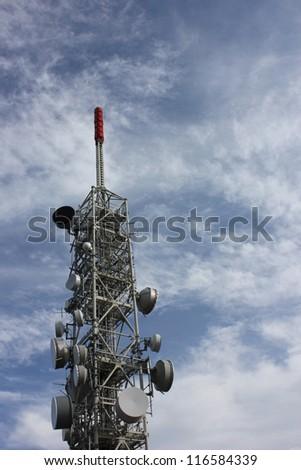 Microwave Tower with flat parabola on mountaintop of Mottarone, lago maggiore, Italy