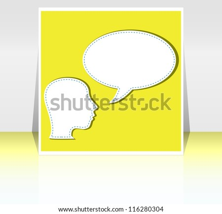 mid adult business man talk in blank speech bubble on yellow background. raster - stock photo