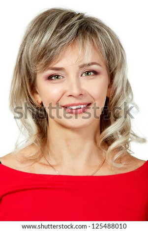 mid adult cheerful woman portrait in red, attractive caucasian middle 40 years old woman over white