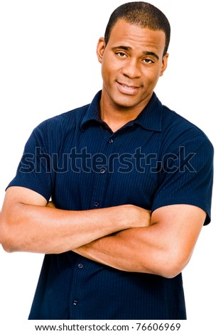 Mid adult man posing and smiling isolated over white