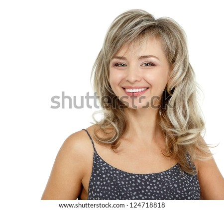 mid adult woman portrait, attractive caucasian middle 40 years old woman over white - stock photo