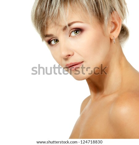mid adult woman portrait, face of attractive caucasian middle 40 years old woman over white - stock photo