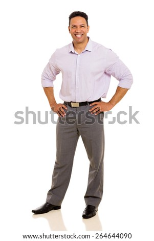 mid age business man posing on white background - stock photo