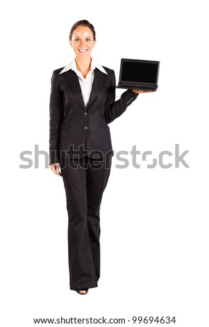 mid age businesswoman presenting laptop on white - stock photo