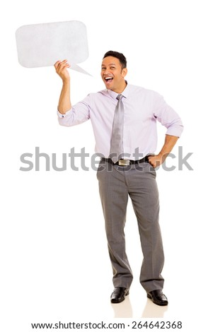 mid age man screaming in speech bubble isolated on white background - stock photo
