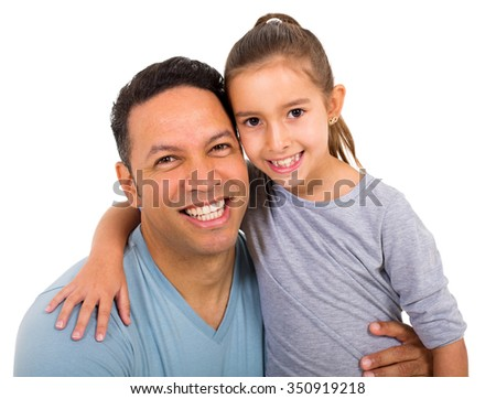 mid age man with his little daughter on white background - stock photo