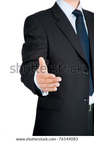 Mid-aged businessman offering for handshake