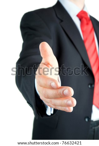 Mid-aged businessman offering for handshake - stock photo