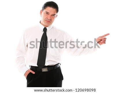 Mid aged man in a suit pointing with finger over a white background - stock photo