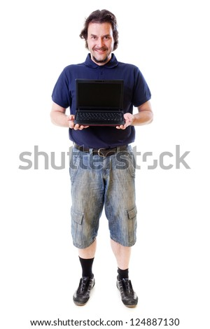 Mid-aged man smiling into the camera with his hand holding a netbook . Shot in studio on white background..