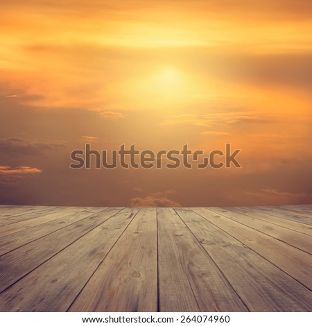 Mid air high sky view from wooden platform, sunrise with blue sky white cloud. - stock photo