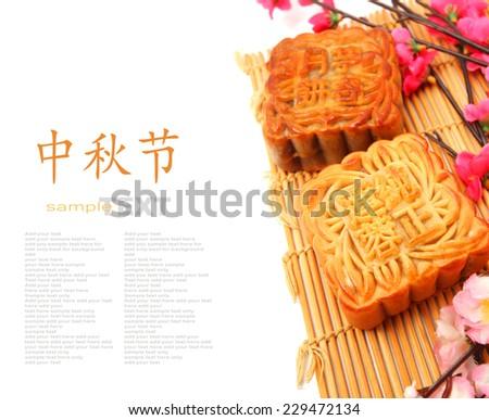 Mid-Autumn Festival moon cake on white background  - stock photo