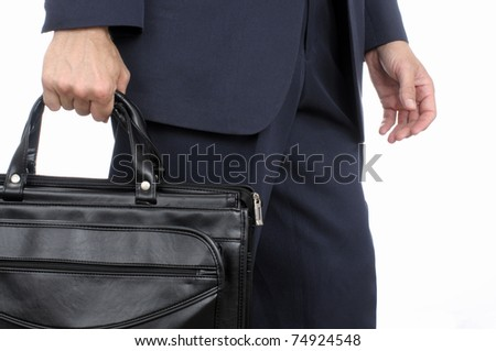 Mid body shot of man walking with briefcase on white background