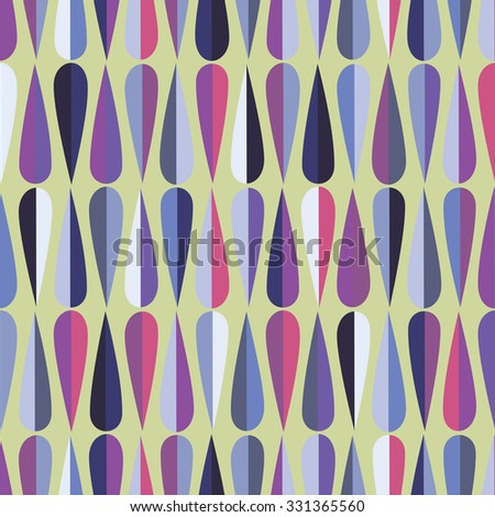 Mid-century modern style retro seamless pattern with drop shapes in various color tones, abstract repeating background for all web and print purposes. Raster version - stock photo