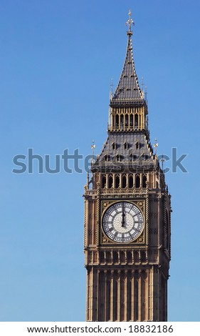 mid-day strikes london's big ben clock tower - stock photo