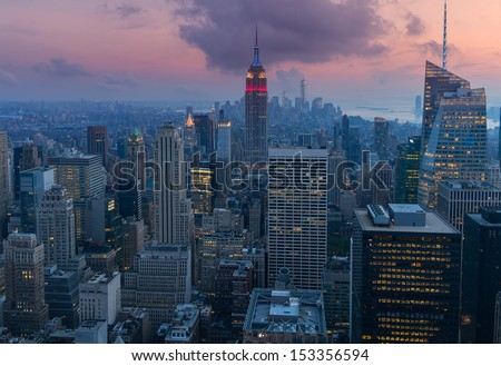 Mid Manhattan at dusk - stock photo