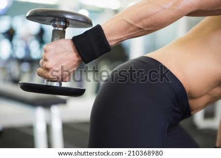 Mid section of a fit young woman exercising with dumbbell in the gym - stock photo