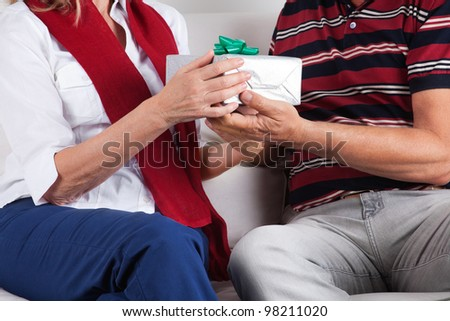 Mid-section of husband giving gift to his wife - stock photo