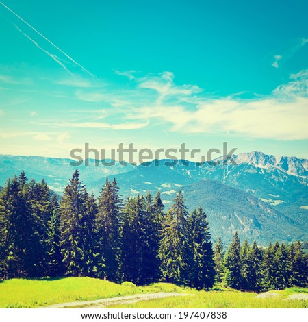 Midday in the Bavarian Alps, Germany, Retro Effect - stock photo