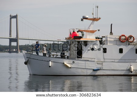 MIDDELFART, DENMARK â?? AUGUST, 11: A fishing tour on Little Belt with M/S Medicus,  11th August 2015. - stock photo