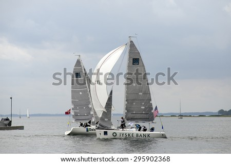MIDDELFART, DENMARK - JULY 12,2015 : ISAF Women's Match Racing World Championship  - Semi Final - USA and Denmark. - Before start. - stock photo