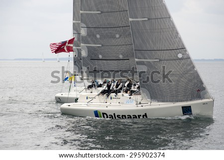 MIDDELFART, DENMARK - JULY 12,2015 : ISAF Women's Match Racing World Championship  - Semi Final - USA and Denmark. - stock photo