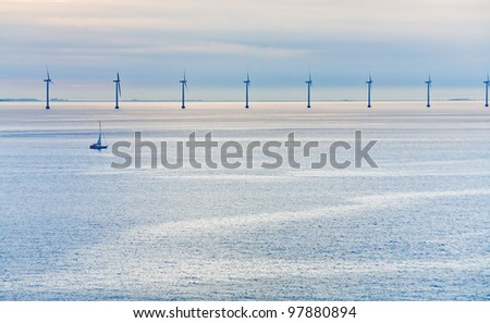 Middelgrunden - offshore wind farm near Copenhagen, Denmark at early morning - stock photo