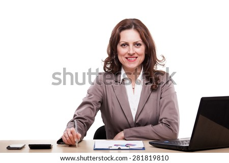 Middle-age business woman working. Portrait of smiling business woman.