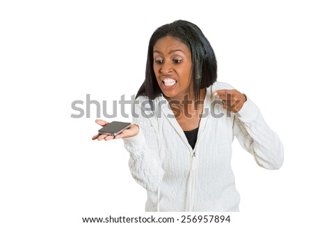 middle age, mad, frustrated angry woman yelling while on phone. Negative human emotion facial expression - stock photo
