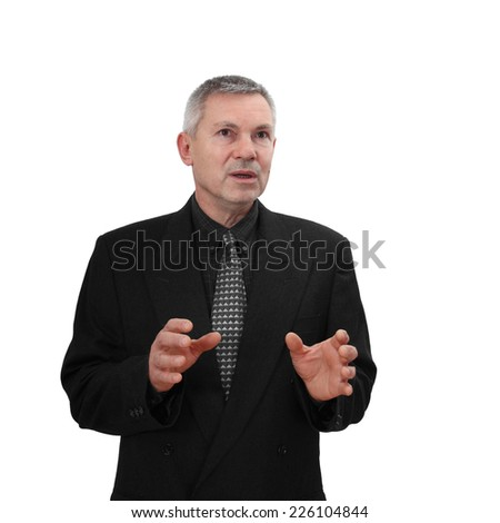 Middle age man in business classic black suit speaks and gesturing inspired. Portrait isolated on white background - stock photo