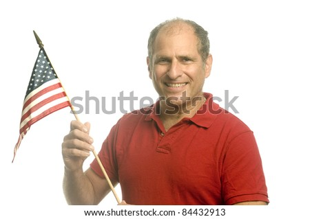 middle age man  waving holding American flag