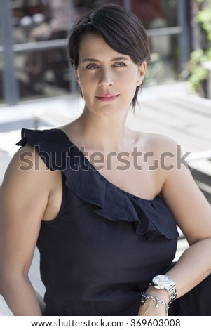 middle age woman handsome caucasian brown straight hair  - stock photo