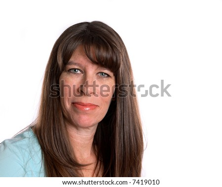 Middle Age woman smiling and looking forward. White background with room for text - stock photo