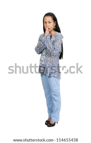 Middle age woman thinking and deep in thought - stock photo