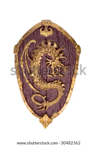 Middle age wooden shield - stock photo