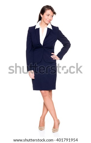 Middle aged business woman in front of white background