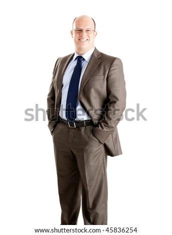 Middle-aged businessman portrait isolated on white background - stock photo
