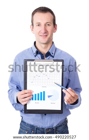 middle aged businessman presenting his business plan on clipboard isolated on white background
