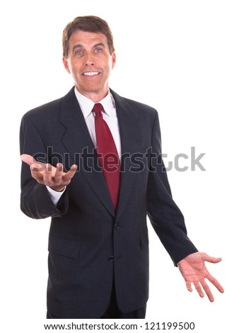Middle aged businessman smiling and gesticulating with his hands. - stock photo