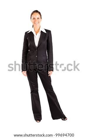 middle aged businesswoman full length portrait on white - stock photo