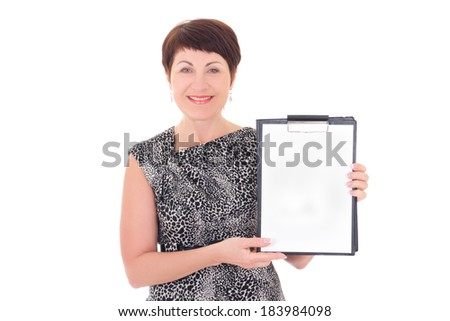 middle aged businesswoman holding blank clipboard isolated on white background - stock photo