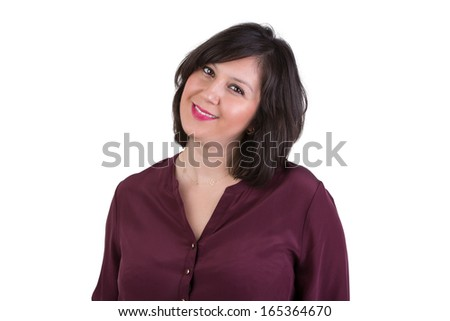 Middle aged businesswoman in shirt looking at your eyes with benignly and gracefully - stock photo