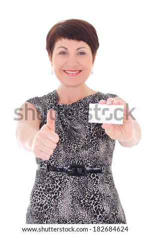 middle aged businesswoman with visiting card thumbs up isolated on white background - stock photo